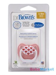 Dr. Browns PreVent vákummentes fogszabályzós játszócumi 6-18h-pink/szívecskés 1db