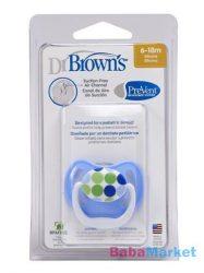 Dr. Browns PreVent vákummentes fogszabályzós játszócumi 6-18h-kék/zöld 1db