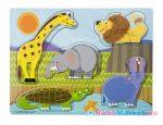 Melissa & Doug - Fa Készségfejlesztő Játék, Tapintós Puzzle, Állatkert