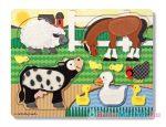 Melissa & Doug - Fa Készségfejlesztő Játék, Tapintós Puzzle, Farm