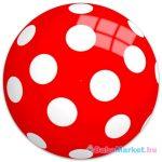 Fehér pöttyös piros gumilabda hálóban - 22 cm