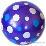 Fehér-kék pöttyös lila gumilabda - 22 cm