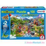 A dinoszauruszok birodalma - 100 darabos puzzle 2 darab ajándék Schleich figurával