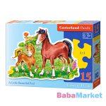Ló és csikója 15 darabos sziluett puzzle