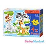 Afrikai állatok 3, 4, 6 és 9 darabos sziluett puzzle