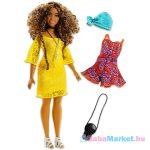 Barbie Fashionistas: Barna göndör hajú molett Barbie