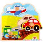 Közlekedési járművek fa forma puzzle