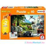 Schmidt: az erdő állatai 40 darabos puzzle ajándék Schleich figurákkal