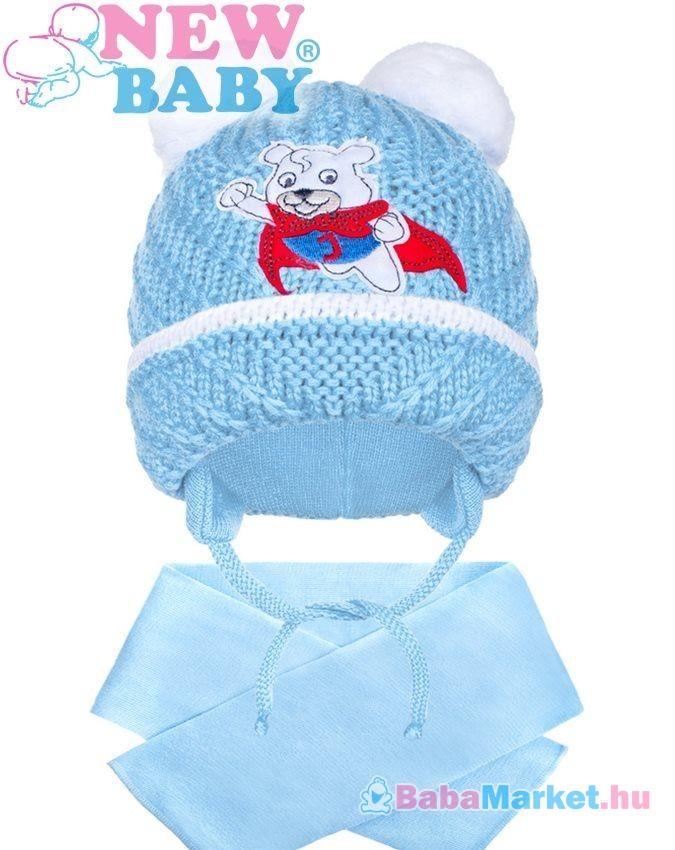 Téli gyermek sapka sállal New Baby maci világos kék 104 (3-4 éves) 6673ee7757