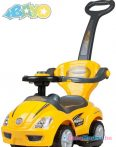 Zenélő bébitaxi tolókarral - Bayo Mega Car yellow