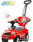 Zenélő bébitaxi tolókarral - Bayo Super Coupe red