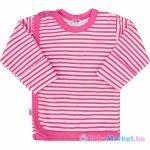 Baba hosszú ujjú póló - New Baby Classic II rózsaszín csíkokkal 56 (0-3 hó)
