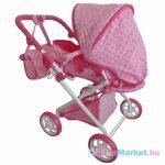 Játékbabakocsi - 2az1-ben Baby Mix rózsaszín virágokkal