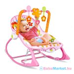 Virágos zenélő és rezgő pihenőszék - rózsaszín