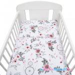 2-részes ágyneműhuzat New Baby 90/120 cm fehér virág és toll