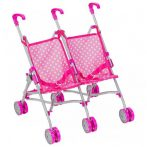 Bimbo: rózsaszín iker játékbabakocsi - 48cm