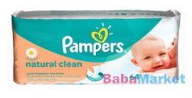 Pampers Natural Clean babatörlőkendő 64 lapos