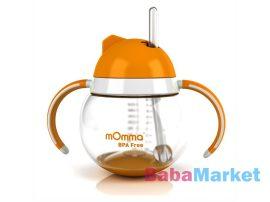 Momma rocking cseppmentes szívószálas itatópohár füllel narancssárga 250 ml