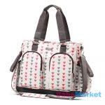 pelenkázó táska - babyono glam - fehér mintás