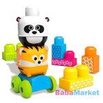 Fisher-Price MB guruló állatos építőjáték - tigris, panda
